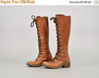 SUMMER SALE 70's Lace-Up Leather CAMPUS Boots (Us 6)