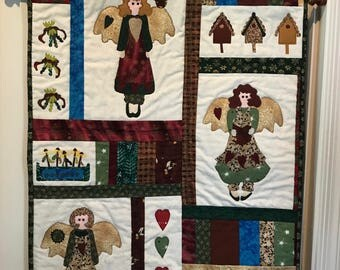 Quilted Christmas Angel Wall Hanging / Handmade Wall Hanging/ Quilted Angel/ DL