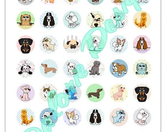 Plate 25 mm, dogs, Collage, Digital images - Doggies - for round cabochons 25 mm