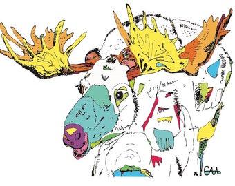 rainbow moose elk illustration art print