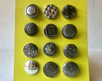 Vintage Silver Toned Metal Buttons for Crafts and Sewing