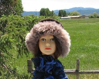 Knit Felt Chocolate Brown Wool Beige Fur Trim Hat  Crusher