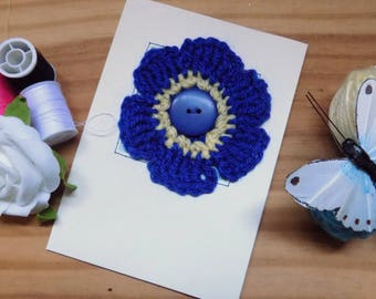 Crochet Flower Greetings Card, Bright Blue Flower Card, Birthday Card, Mothers Day Card.