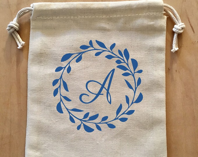 Personalized Pouch, Bridesmaid Gift Bag, Bachelorette Party Gift, Pouch, Drawstring Bag, Wedding Favor, Initial Bag