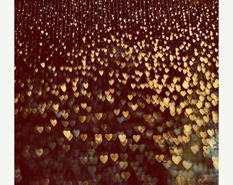 Love Art: When we fell in love Fine Art Photography decor light heart print bokeh lovers couple art print Still life photography Brown Gold