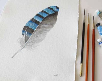 Original watercolour Jay feather painting illustration study blue striped feather