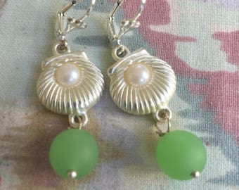 Sea Glass Silver and Pearl Earrings