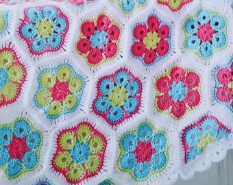 African flower Baby Afghan blanket Made to Order Crocheted daisy squares girl Newborn Infant Toddler Security crib naptime Shower gift Cover