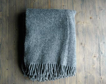Blanket throw , Grey throw with fringes. woolen blanket, wool throw