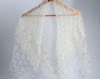 Bridal Lace Shawl,knitted lace wool scarf, wedding lace shawl, orenburg lace shawl