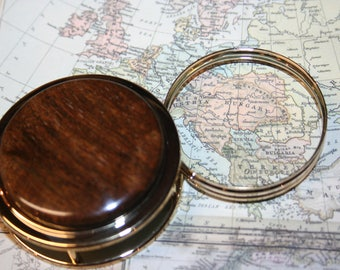 Handcrafted Desert Ironwood Magnifying Glass Paperweight in a Beautiful 24 ct Gold Finish