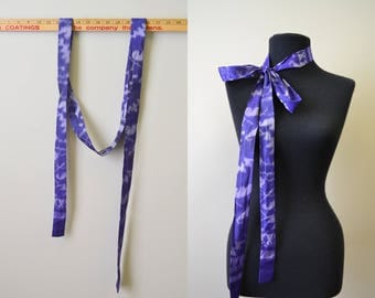 1970s Purple Silk Ikat Tie Scarf/Belt/Sash