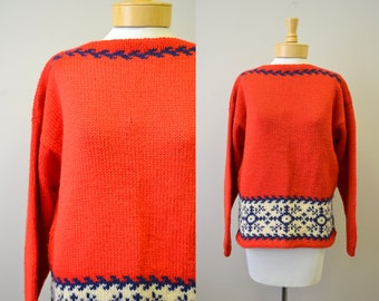 1960s Red Hand Knit Sweater