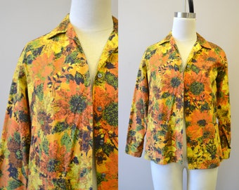1970s Cotton Floral Shirt Jacket