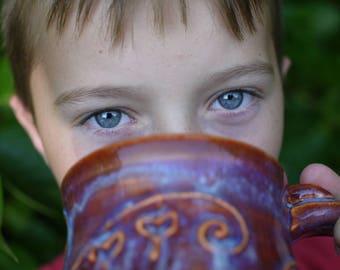 Hand Made Coffee Mug, Pottery Mug Red, Ceramic Mug, Pottery Mug Blue, Bleeding Hearts, Rustic Pottery Mug, Boho Mug, Christmas Gifts