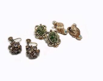 Three Pairs of Vintage Earrings, ca. 1950s