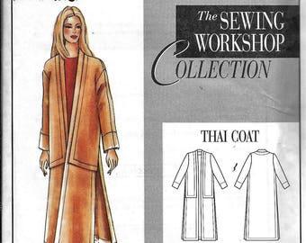 Sewing Workshop Thai Coat Asian Oriental Sewing Pattern UNCUT Plus Size 6, 8, 10, 12,14, 16, 18, 20, 22 Small Medium Large XL, XXL