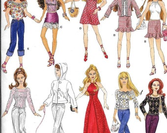 Simplicity 4702 Barbie Doll Clothes Sewing Pattern Dress Halter Top Pants Skirt