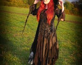 Black alternative gothic wedding dress, cobweb spider web adult witch costume, velvet romantic ball gown