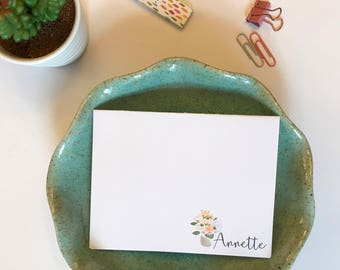custom stationary for women // custom stationery // hand drawn // folded note card, personalized thank you notes // wedding thank you notes