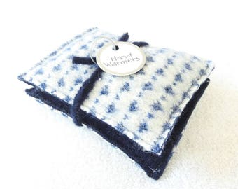 Pocket Handwarmers BLUE & WHITE Nordic Sweater Wool Hand Warmers Upcycled Rice Bags Stocking Stuffer Gift Under 15 by WormeWoole