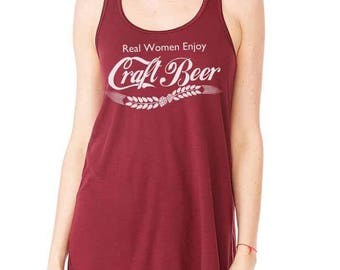 Real Women Drink Craft Beer Flowy Tank // Beer Girl Gift // Beer Festival // Running or Working Out // Birthday Gift or Christmas Gift