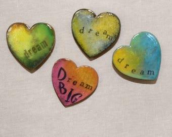 Handmade Grunge Push Pins, Black Heart, Love Magnet, Pink Grunge, Office Decor, Dorm Room Decor, Christmas Gift, Grunge, Valentine Day, Fun