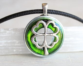 green four leaf clover necklace, mens jewelry, mens necklace, good luck charm, irish jewelry, unique gift, st patricks day, mens gift