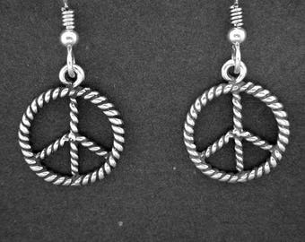 Sterling Silver Peace Sign Earrings on Heavy Sterling Silver French Wires
