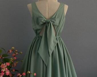 Flash SALE Sage green dress backless dress green party dress green prom dress green cocktail dress bow back dress sage green bridesmaid dres