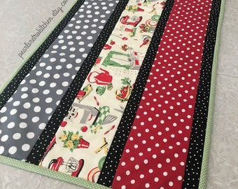 Retro Red and Mint Kitchen with Polka Dots Table Runner