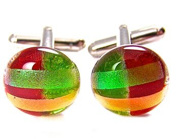 "Cuff Links Dichroic - Green Red Orange Stripes Patterned - 1/2"" 15mm - Dichro over Clear Red & Green Stained Glass Fused Glass Round"
