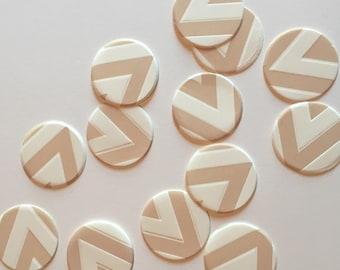 "1"" pre-cut CIRCLE CONFETTI (100 pc)  --  Tan/White Chevron --  create you own garland, envelope seals, favor tags & more!"
