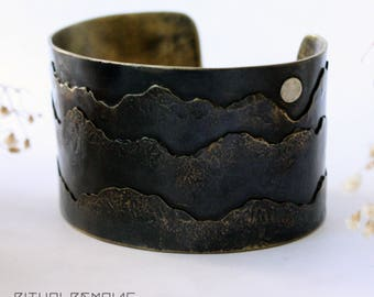 Midnight Mountain Brass Landscape Cuff Bracelet Large Sterling Silver Full Moon Mountain Jewelry Mountain Bracelet Ritual Remains Handmade
