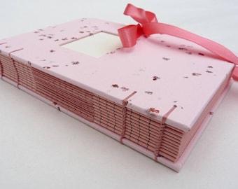 Pink journal, notebook, handmade paper, elderflower, ribbon, sweet, baby girl diary, personalised, lined