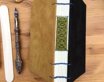 Black faux suede journal, yellow faux suede notebook, coptic journal, woven spine, notebook, faux suede, A6 notebook