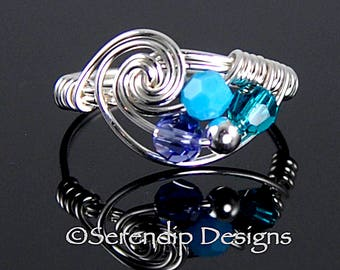 Silver Wrapped Birthstone Ring, Three Birthstone Ring, Mothers Ring, Family Ring, Argentium Sterling Silver and 3 Swarovski Crystals