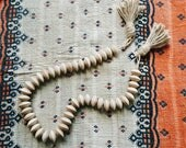 Chunky Natural Wood Styling Bead Garland with Tassels - Modern Bohemian Decorative Wooden Beads