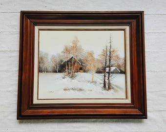 Vintage Framed Oil Painting on Canvas of Cabin in the Snowy Woods - Rustic Winter Wonderland Scene - Modern Farmhouse Fall Winter Decor