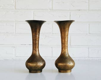 Pair of Vintage Etched Floral Brass Vases from India - Bohemian Modern Eclectic Holiday Decor