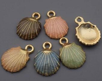 Shell Charms-10pcs Enamel Shell Charm, Seashells Charm, Scallop Charm, Hot Summer Charms Beach Charms Jewelry Supplies, Findings