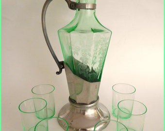 Vintage Cordial Green Depression Etched Glass Set - Circa 1935