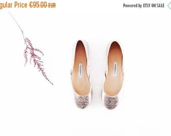 Summer Sale Handmade Leather Ballet Flats | Silver Floral Lace | Ballet Flats | Bridesmaids Flats | Silver Lace | Ready to ship