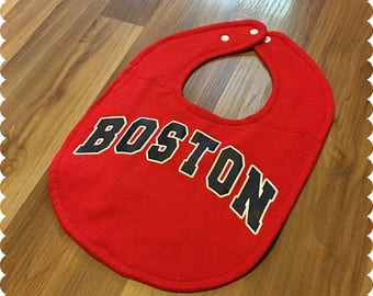 Boston Baby Bib, Red Sox Recycled T-Shirt Sports Bib, MLB, Sports Baby, Baseball