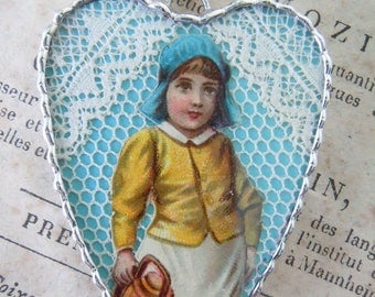 Fiona & The Fig - Antique Victorian - Circa 1885 - Die Cut Scrap - Double Sided - Soldered Charm - Necklace - Pendant-Jewelry