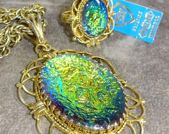 25% Off Spectacular Rare Dichroic Glass Whiting and Davis Pendant Necklace Matching Adjustable Ring Dichroic Glass Art glass Unusual Rare gl