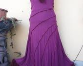 "20%OFF bohemian gypsy lagenlook plum stretch dress....medium to 36"" bust..."