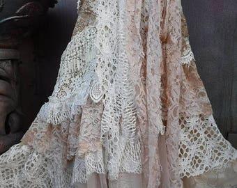 20%OFF wedding, bridal,tattered skirt, boho, fantasy, stevie nicks, bohemian skirt, gypsy skirt, ivory, white, lace skirt, bellydance, large