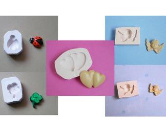 Lot 5 moules en silicone coeurs trèfle coccinelle et anges pour décoration loisirs créatifs