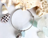 Aromatherapy Sea Glass Bangle - Blue